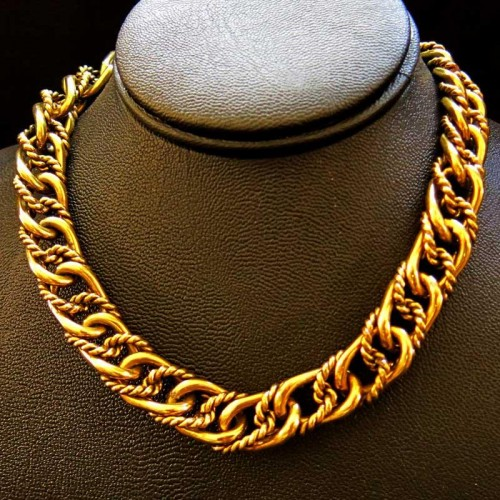 Artistic Brass Link Necklace