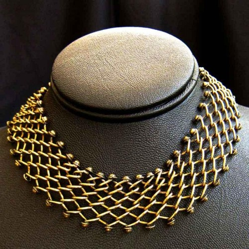 Artistic Brass Net Necklace