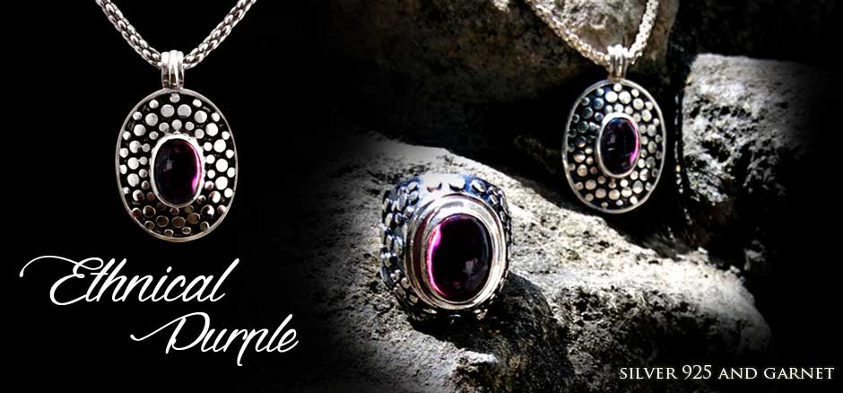 ethnical purple sterling silver with garnet stone handmade jewelry